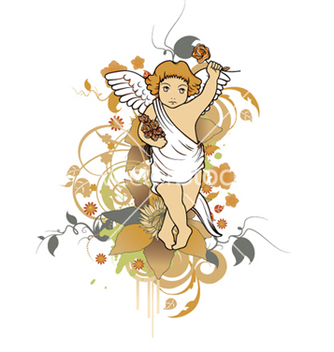 Free angel with floral vector - Kostenloses vector #252491