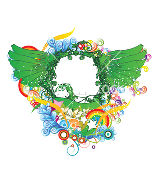 Free wings with floral vector - бесплатный vector #252591