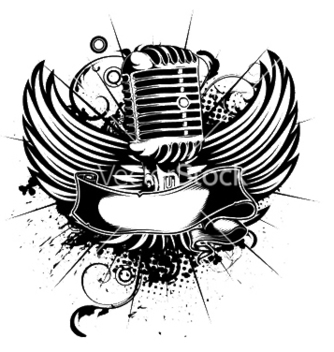 Free microphone with wings vector - vector gratuit #253211