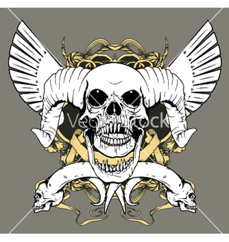 Free vintage emblem with animal skull vector - Free vector #253481