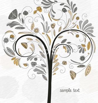 Free doodles background with colorful tree vector - Free vector #254201