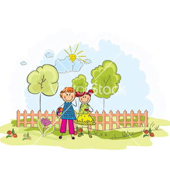 Free kids playing in the park vector - vector gratuit #254401