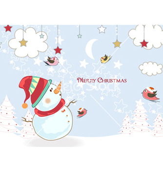 Free christmas background with snowman vector - бесплатный vector #255021