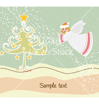 Free angel with tree vector - Kostenloses vector #255031