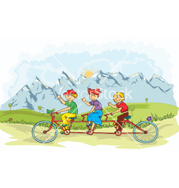 Free kids on a bike vector - Free vector #255101
