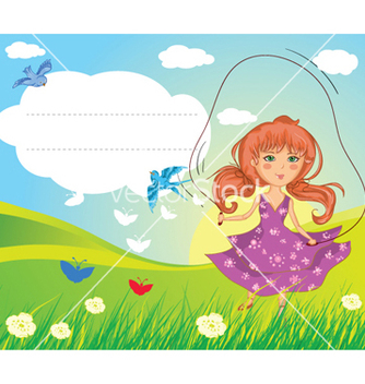 Free girl playing vector - vector gratuit #255811