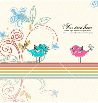 Free birds with floral vector - Kostenloses vector #255901