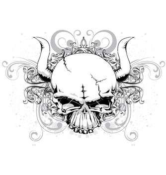 Free skull with floral vector - бесплатный vector #256301