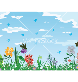 Free birds with floral vector - Free vector #256351