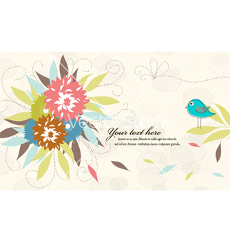 Free bird with floral vector - Free vector #256441