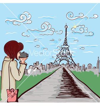 Free paris doodles with lady vector - vector gratuit #256821