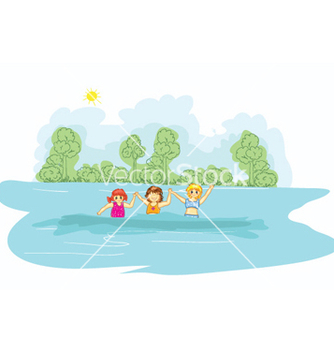 Free little girls in the water vector - Free vector #257041