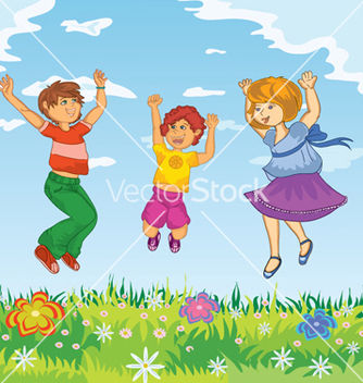 Free happy kids jumping vector - бесплатный vector #257081