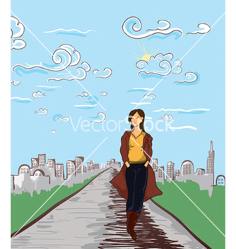 Free girl with city vector - vector gratuit #257191