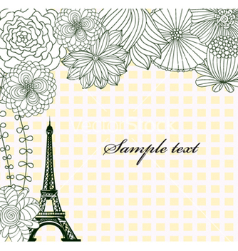 Free eiffel tower with floral vector - vector gratuit #257401