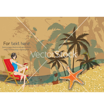 Free glossy girl on vintage summer background vector - Kostenloses vector #257871