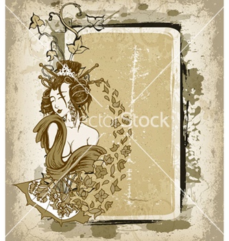 Free geisha with floral grunge frame vector - Free vector #257941