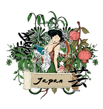 Free japanese with geisha vector - Free vector #258201