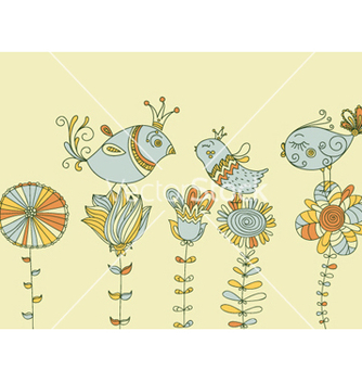 Free birds on flowers vector - Free vector #258231