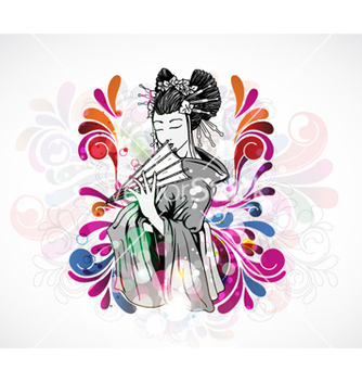 Free colorful background with geisha vector - Free vector #259311