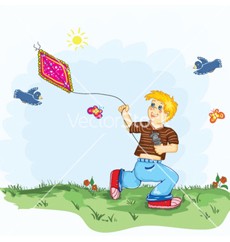 Free kid with a kite vector - Kostenloses vector #259511