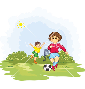 Free kids playing soccer vector - бесплатный vector #259891