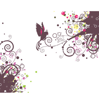 Free abstract floral with bird vector - Free vector #260461