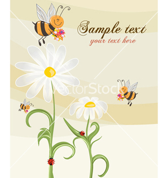 Free bees with floral vector - Free vector #261061