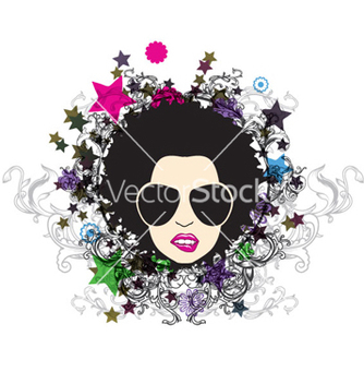 Free funky face with floral vector - vector #261931 gratis