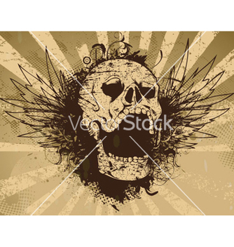 Free skull with grunge rays background vector - vector #262341 gratis
