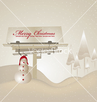 Free billboard with snowman vector - vector gratuit #262471