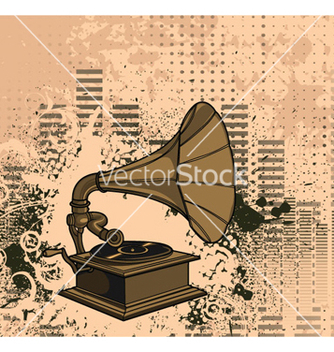 Free old gramophone with grunge background vector - Free vector #262661