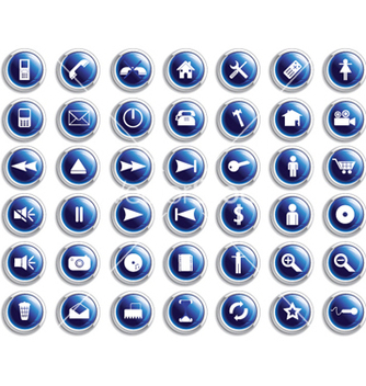 Free set of glossy buttons vector - Free vector #263071