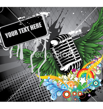 Free microphone with wings vector - vector #263511 gratis