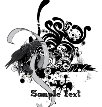 Free raven with floral vector - vector gratuit #264281