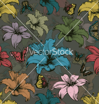Free vintage seamless floral wallpaper vector - бесплатный vector #264501