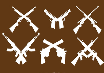 Crossed Guns Icons - vector #264591 gratis