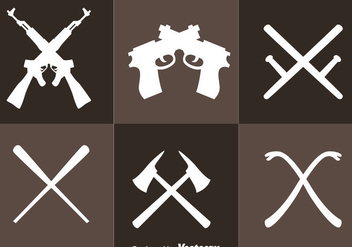 Crossed Weapons Icons - Free vector #264601