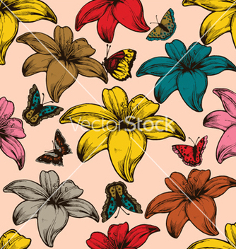 Free vintage seamless floral wallpaper vector - бесплатный vector #264981