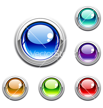 Free colorful glossy buttons set vector - vector #265421 gratis