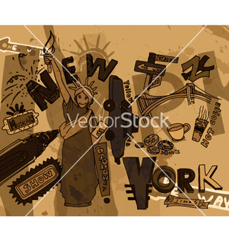 Free new york doodles with grunge background vector - vector gratuit #266271