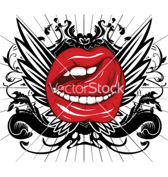 Free mouth with floral and wings vector - vector #266521 gratis