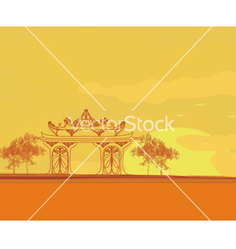 Free old paper with asian landscape vector - Free vector #266701
