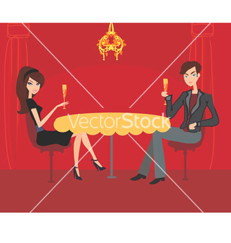 Free young couple flirt and drink champagne vector - бесплатный vector #266711