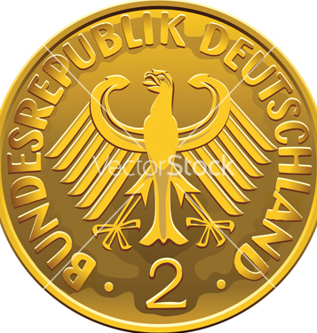 Free german 2 dollar coin vector - Free vector #266811