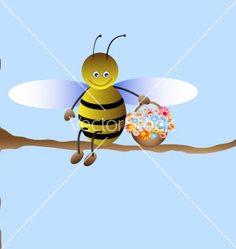 Free cute cartoon bee vector - бесплатный vector #266861