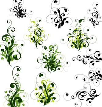 Free floral decorations set vector - Kostenloses vector #266911