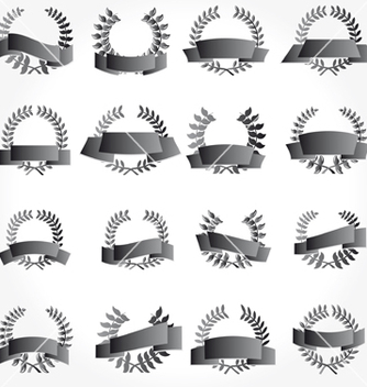 Free banner and laurel wreath set vector - vector gratuit #267401