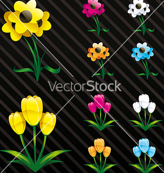 Free glossy flowers web 2 style vector - Kostenloses vector #270221