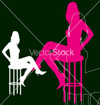 Free woman silhouette on bar stool vector - vector gratuit #270941